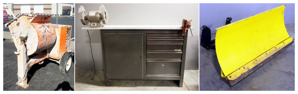 cement mixer, utility cabinet and sander
