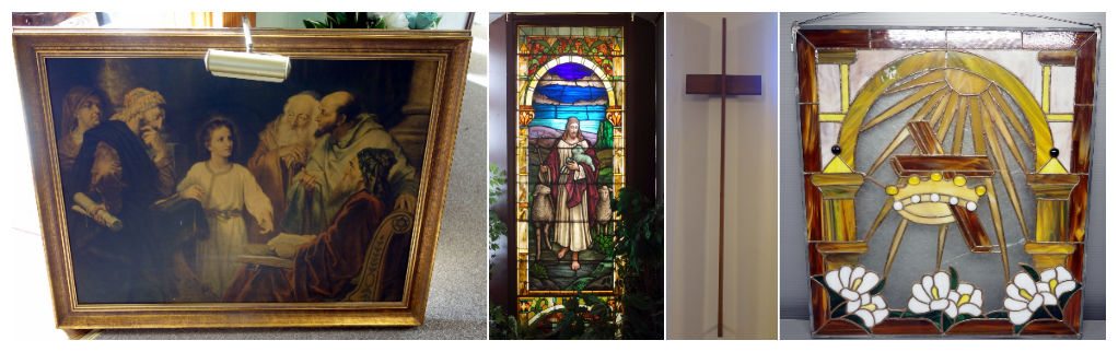 paintings and stained glass of Jesus and his disciples