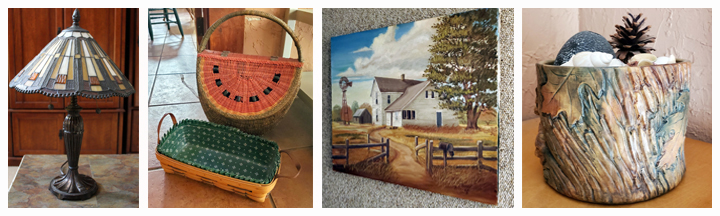 lamp, baskets and painting