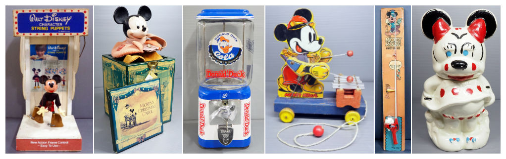 Walt Disney Character String Puppet Electronic Mickey Marionette, Enesco Mickey Mouse Music Box