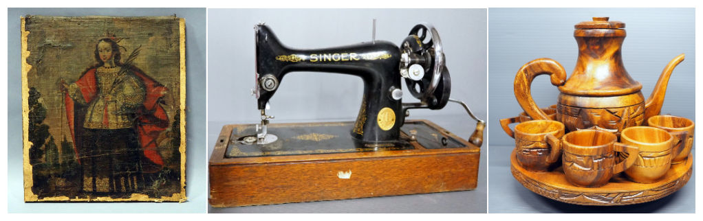 painting and antique Singer sowing machine