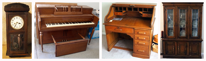 Antique Wall Clock, Gulbransen Company Spinet Piano, Antique Solid Wood 7 - Drawer Rolltop Desk