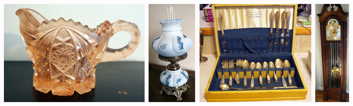 Pink Depression Glass, Antique Hurricane Lamp, and 1847 Rogers Bros Stainless Daffodil Flatware Set