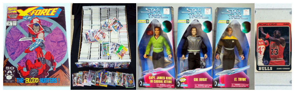 Marvel Comics X-Force #2, Sports Card Collection, and Playmates Star Trek Collector's Series Edition Action Figures