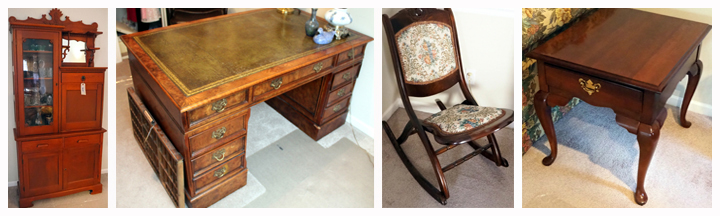 Antique Solid Wood 3-Drawer Drop Front Secretary and a Three Piece Solid Wood Executive Desk