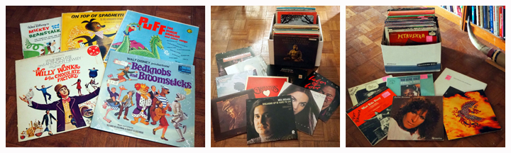 Vintage Children's Records Including Willie Wonka, Bed Knobs And Broomsticks, Puff The Magic Dragon