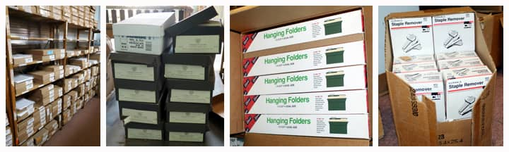 reams of printing paper, hanging folders and staple removers