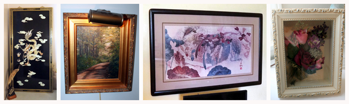 Mother Of Pearl Inlaid Wall Panel With Chinese Dragon, Framed Oil Painting Of Forest Path By Lo Rene