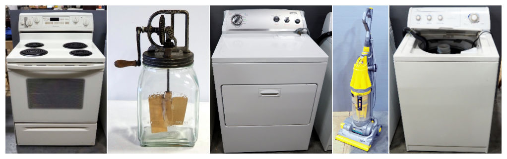 Whirlpool Gold Self Cleaning Oven, Dazey Churn No. 40 With Original Glass Jar, Whirlpool Electric Dryer, and Dyson Vacuum With Attachments