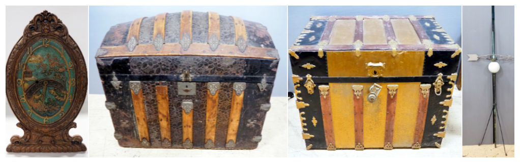 Decorative Table/Wall Clock With Oriental Style Face, Antique Camelback Trunk, and Antique Trunk With Tin Overlay And Wood Bumpers