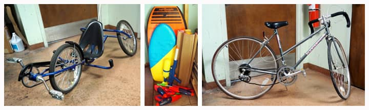 bicycles and boogie boards