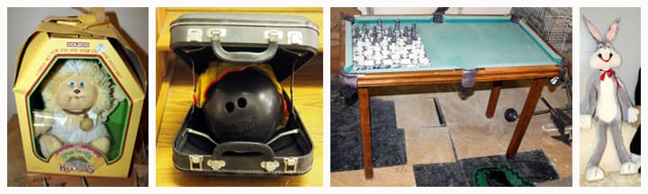 toy doll, bowling ball, and game table with chess board