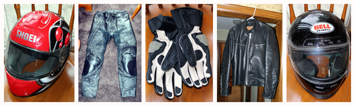motorcycle helmets, pants and gloves