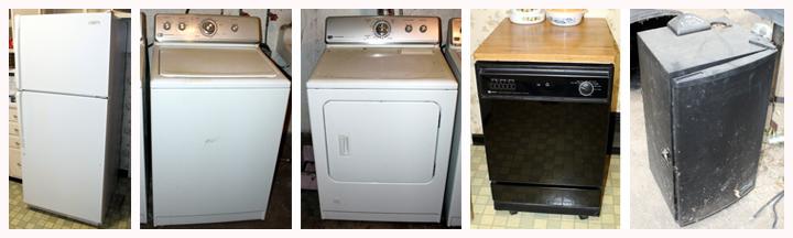 refrigerator, washer and dryer