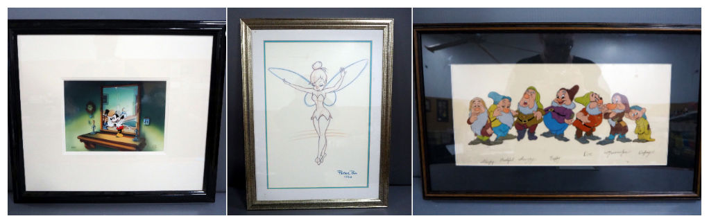 Mickey Mouse, and Seven Dwarves Cel, and Tinkerbell sketch