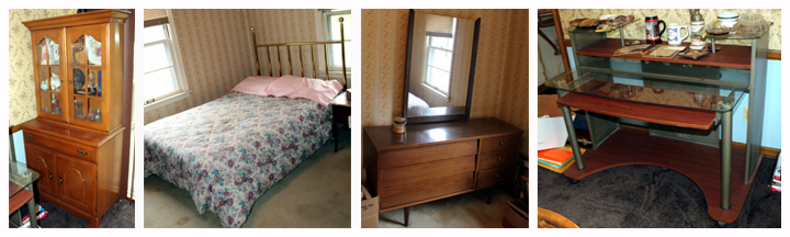 dining room chest and a bed