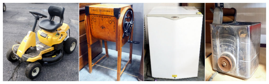 2020 Cub Cadet, M Brown Co Bent Wood Butter Churn, Haier Compact Refrigerator, and Vintage Portable Tabletop Washing Machine