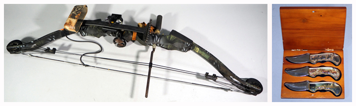 Browning Timberwolf TBF4B Compound Bow and James Hartman Presentation Folding Knives