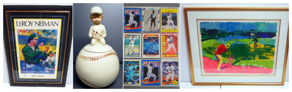 baseball cards and sports paintings