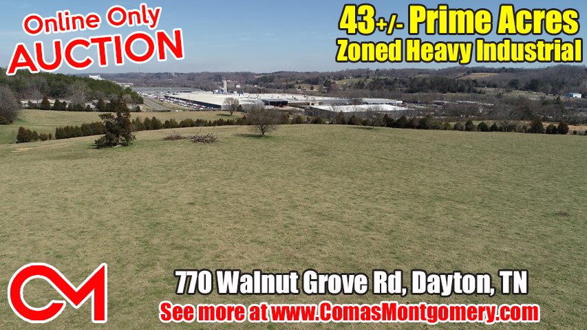 43+/- Prime Acres For Sale Zoned Heavy Industrial in Dayton Tennessee by Comas Montgomery