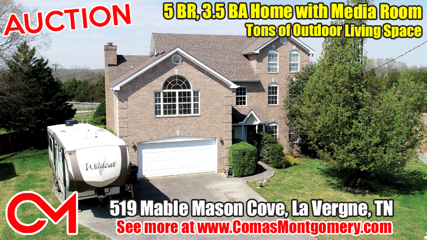 AUCTION featuring 5 BEDROOM, 3 1/2 BATH HOME with MEDIA ROOM and TONS OF OUTDOOR LIVING SPACE  519 Mable Mason Cove La Vergne, Tennessee