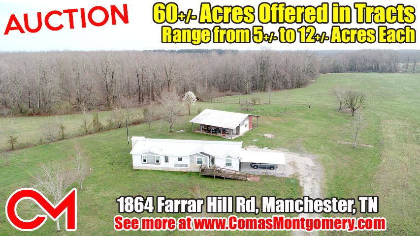 Land, For Sale, Sale, Real Estate, Build, Farm, Acreage, Coffee, Manchester, Tennessee, Auction, Comas