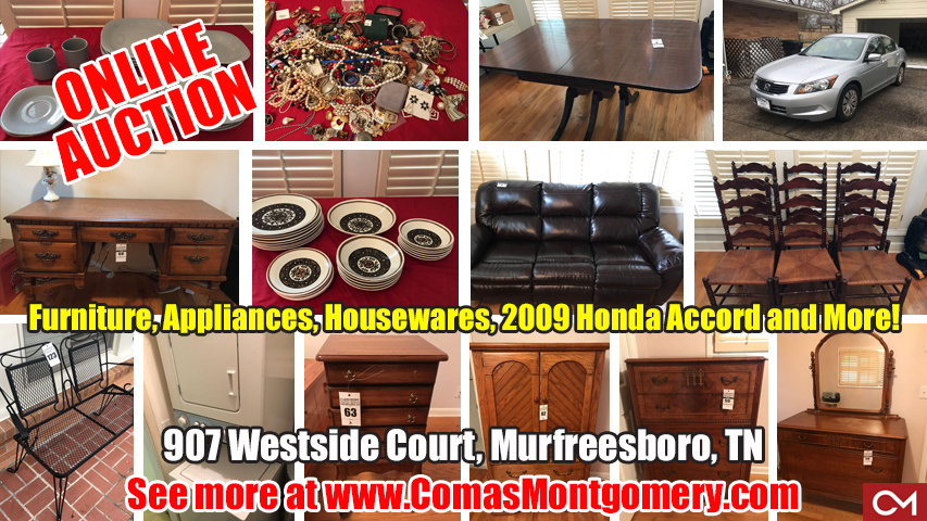Online, Estate, Auction, Personal Property, Murfreesboro, Tennessee, Comas, Montgomery, Furniture, Appliances, Honda, Accord, Used, Car, For Sale