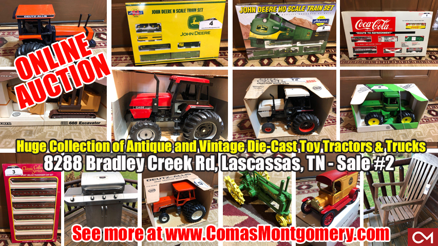 ERTL, John Deere, Vintage, Toy, Tractors, Trucks, Vehicles, Collectibles, Coca-Cola, Case, Massey-Ferguson, Sears, Deutz-Allis, International, Comas, Montgomery, Patio Furniture, Grill, Estate, Auction, For Sale, Bid, Online
