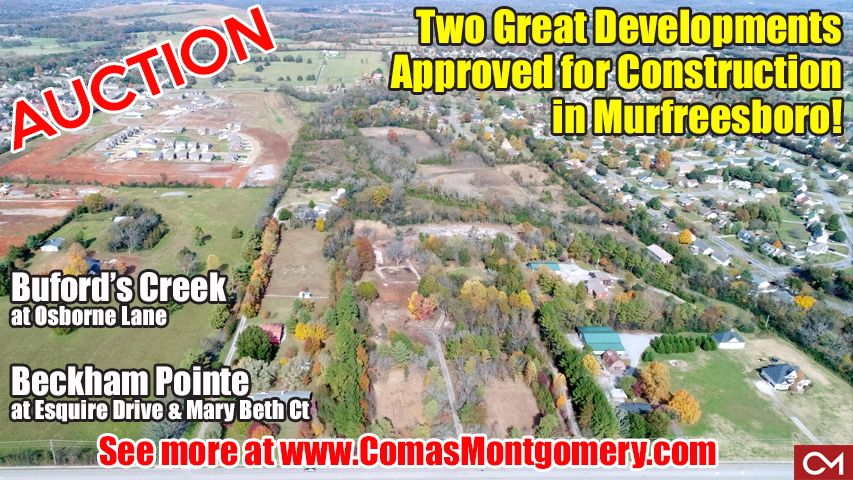 Auction, Development, For Sale, Investment, Builder, Construction, Houses, Homes, Subdivison, Street, Osborne, Esquire, Buford, Beckham, Pointe, Creek, Comas, Montgomery, Rutherford, County, Murfreesboro, Tennesse, Approved, Land, Acres