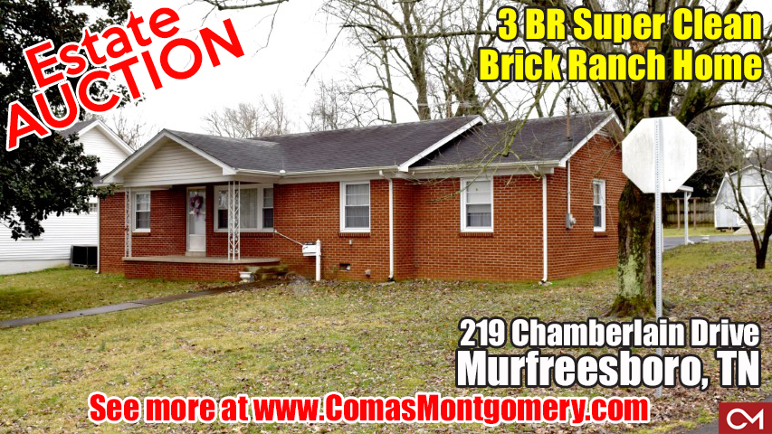 Estate, Auction, Home, House, Murfreesboro, Tennessee, Comas, Montgomery, Lester, Chamberlain, Real Estate, For Sale, Brick, Ranch