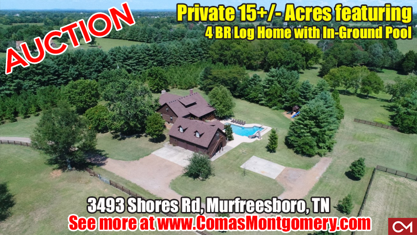 Acres, Land, Private, Log, Home, House, Pool, Garage, Apartment, Vacant, Soil Site, Tract, For Sale, Real Estate, Auction, Shores, Murfreesboro, Tennessee, Comas, Montgomery