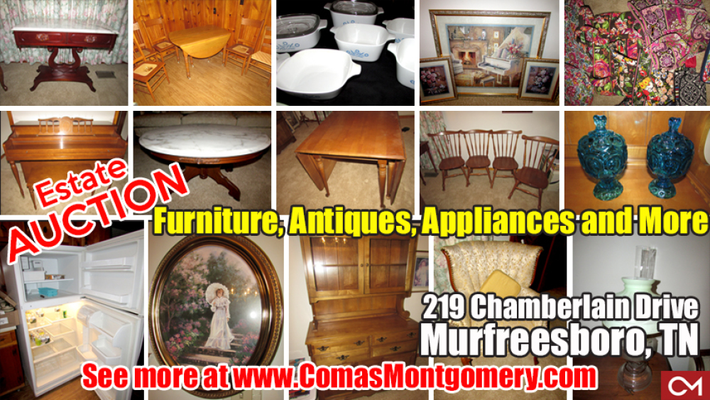 Estate, Auction, Comas, Montgomery, Lester, Chamberlain, Murfreesboro, Tennessee, Furniture, For Sale, Antiques, Glassware, Appliances