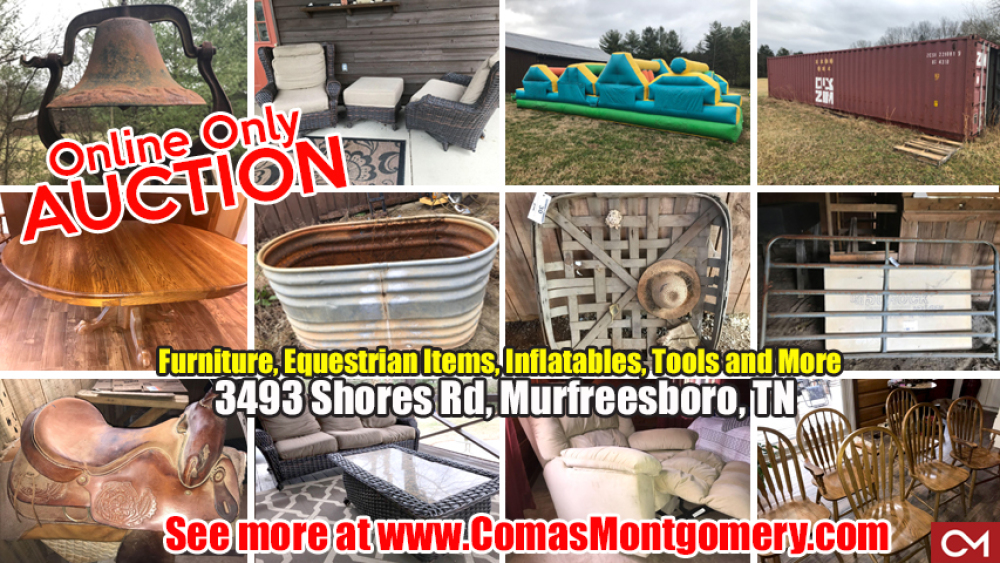 Auction, Equestrian, Tools, Furniture, Horse, Equipment, Inflatables, Patio, Furniture, Shipping, Container, Shores, Murfreesboro, Tennessee, Comas, Montgomery