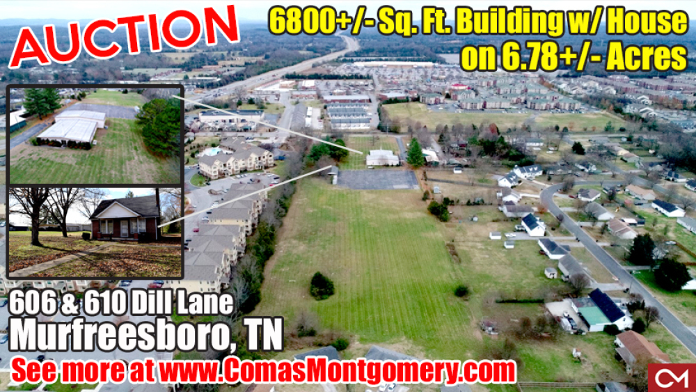 Commercial, Residential, Building, For Sale, Auction, Real Estate, Murfreesboro, MTSU, Tennessee, Comas, Montgomery, Dill, Lane, Church, Zoned, R-10