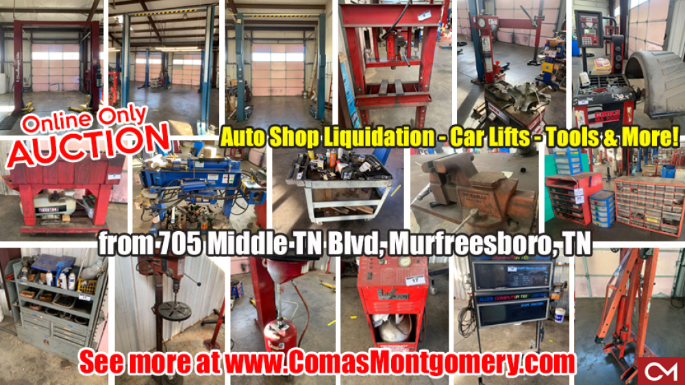 Automotive, Liquidation, Shop, Mechanic, Auto, Repair, Lifts, Car, Truck, For Sale, Tools, Equipment, Kee's, Middle Tennessee, Murfreesboro, Comas, Montgomery