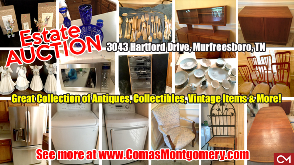 Estate, Auction, Sale, Personal, Property, Vintage, Antiques, Furniture, Appliances, Coady, Hartford, Sale, For Sale, Murfreesboro, Comas, Montgomery