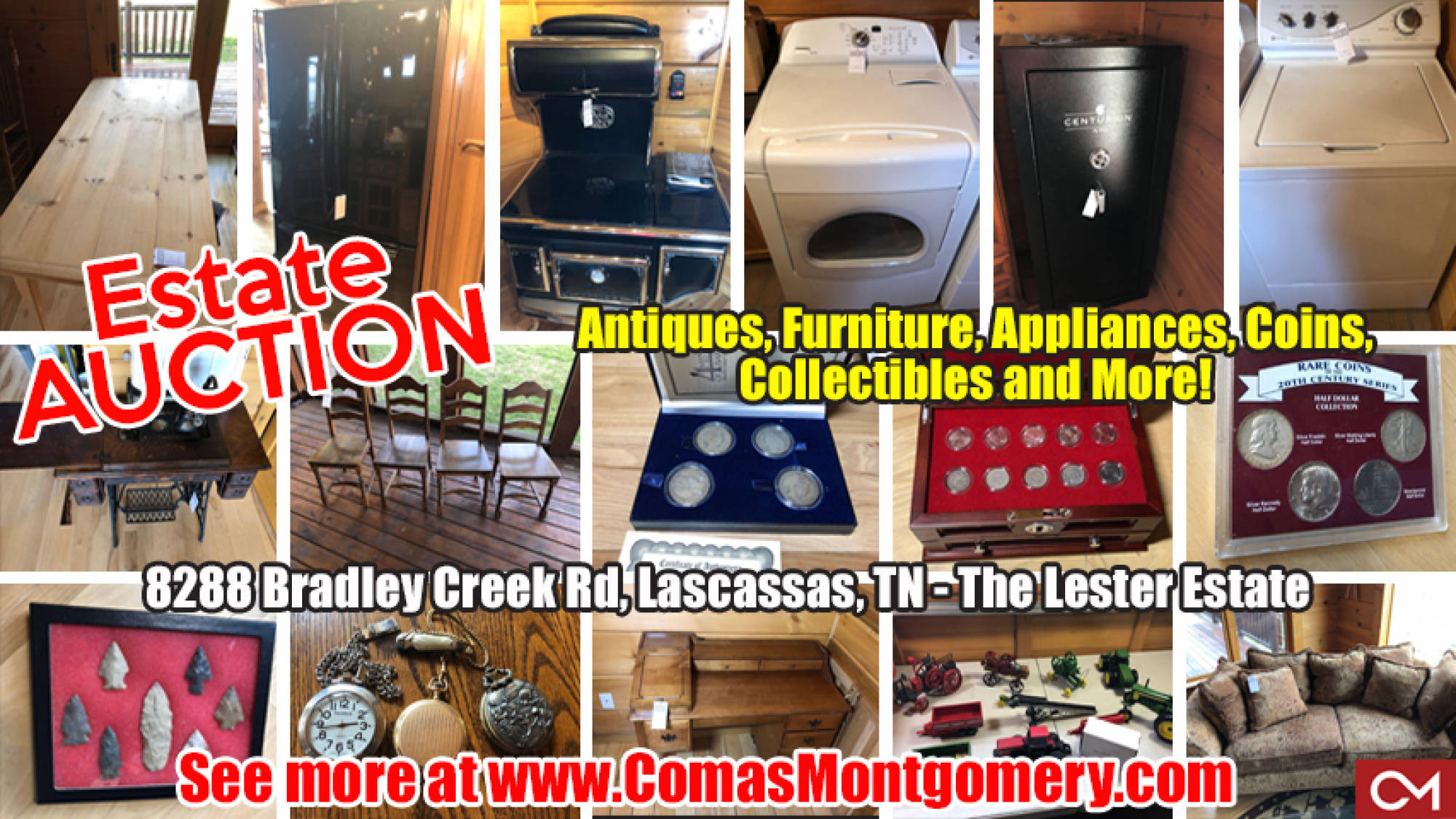 Furniture, Appliances, For Sale, Auction, Estate, Sale, Lester, Bradley, Coins, Collectibles, Knives, Firearms, Antiques, Model, Cars, Tractors, Arrowheads, Watches, Tools, Equipment, Lascassas, Tennessee, Comas, Montgomery