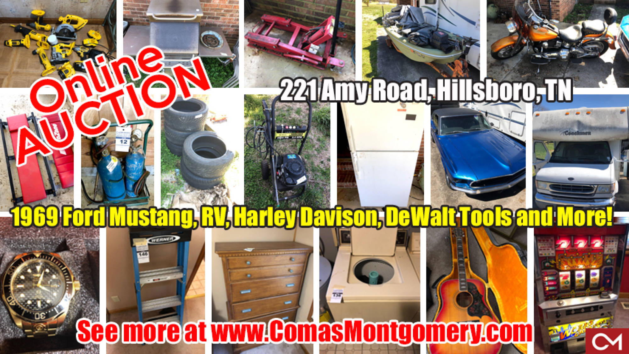Auction, Tools, Motorcycle, RV, Ford, Mustang, For Sale, Watches, Furniture, Appliances, DeWalt, Car Tools, Estate, Sale, Bid, Online, Manchester, Hillsboro, Coffee, County, Tennessee, Comas, Montgomery
