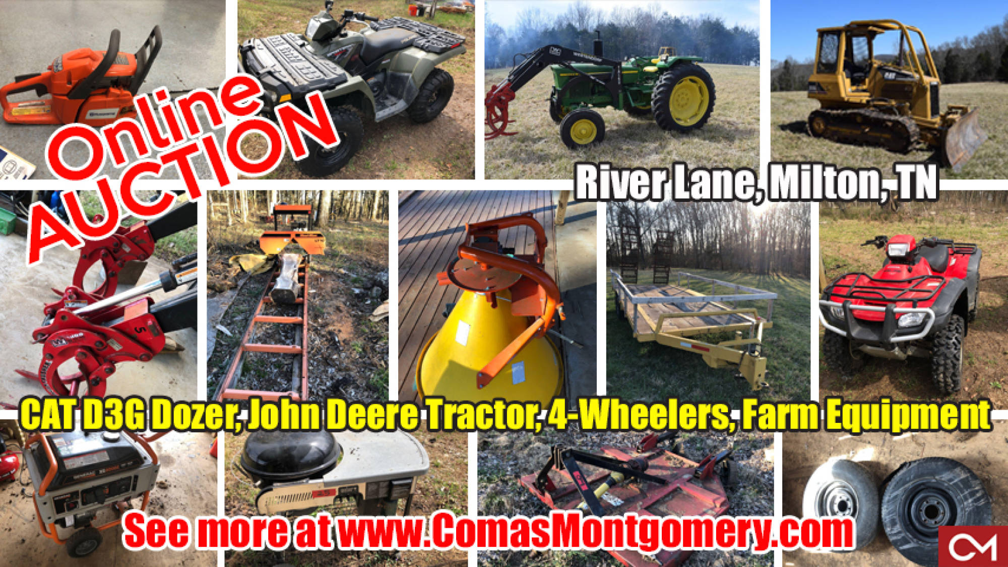 River, Lane, Equipment, Tractor, Dozer, Tools, Farm, Auger, 4-Wheelers, ATV, For Sale, Generator, Saw, Cutter, Farm, Selling, Online, Auction, Murfreesboro, Milton, Tennessee, Comas, Montgomery