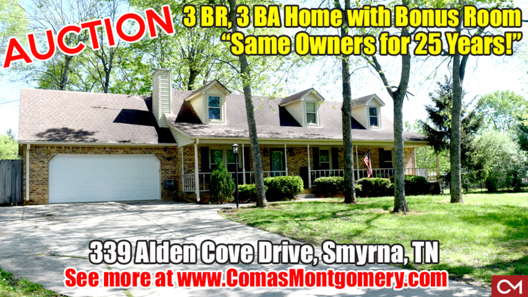 Auction, Real Estate, Home, For Sale, House, Smyrna, Murfreesboro, Rutherford, Comas, Montgomery, Bonus Room