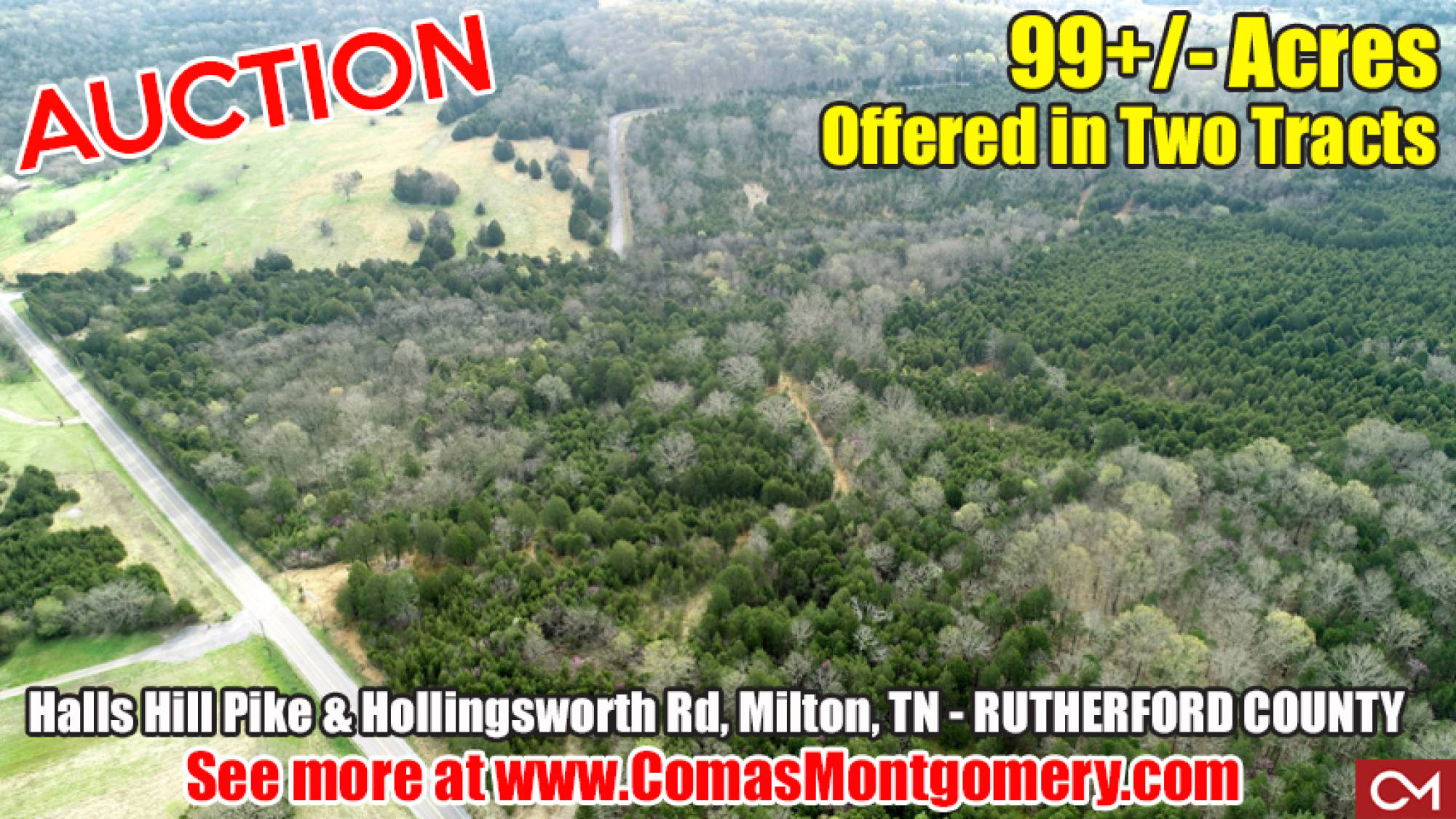 Land, Acres, Tract, For Sale, Milton, Murfreesboro, Rutherford County, Tennessee, Auction, Real Estate, Build, Trees, Comas, Montgomery