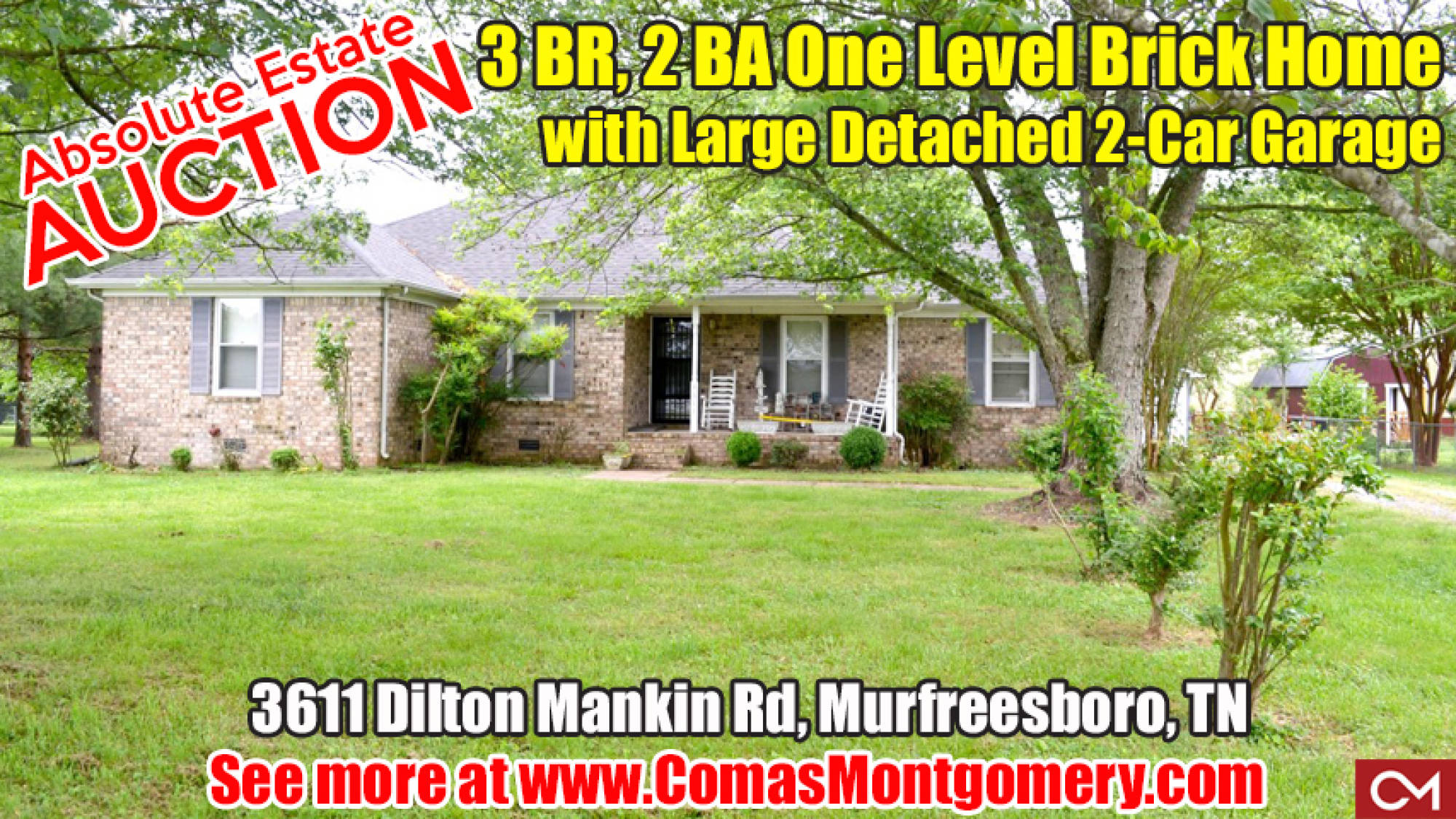 House, Home, Auction, Absolute, Real Estate, Murfreesboro, Garage, Comas, Montgomery, Dilton, Mankin, Merriman