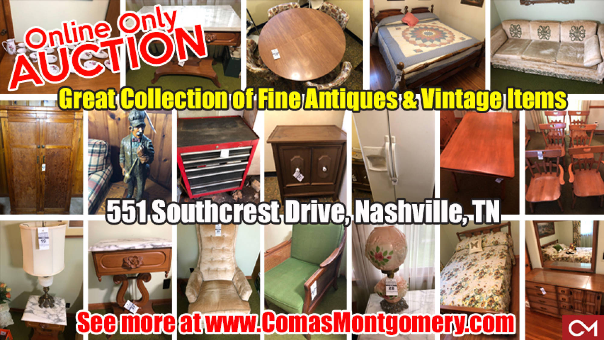 Antiques, Vintage, Items, For Sale, Furniture, Glassware, Appliances, Nashville, Estate, Sale, Tennessee, Comas, Montgomery, Online, Auction