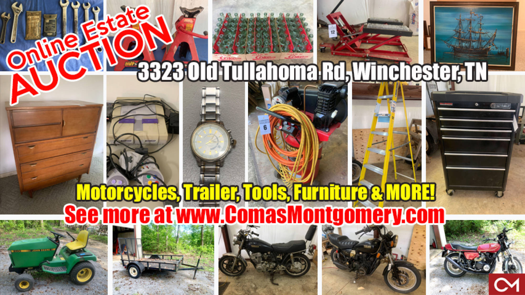 Harley, Davidson, Motorcycle, Motorcycles, Motorbikes, For Sale, Trailer, John Deere, Furniture, Tools, DeWalt, Coca-Cola, Collectibles, Appliances, Nintendo, Electronics, Watches, Jacks, Auto, Repair, Estate, Auction, Sale, Bid, Online, Winchester, Franklin County, Tennessee, Comas, Montgomery
