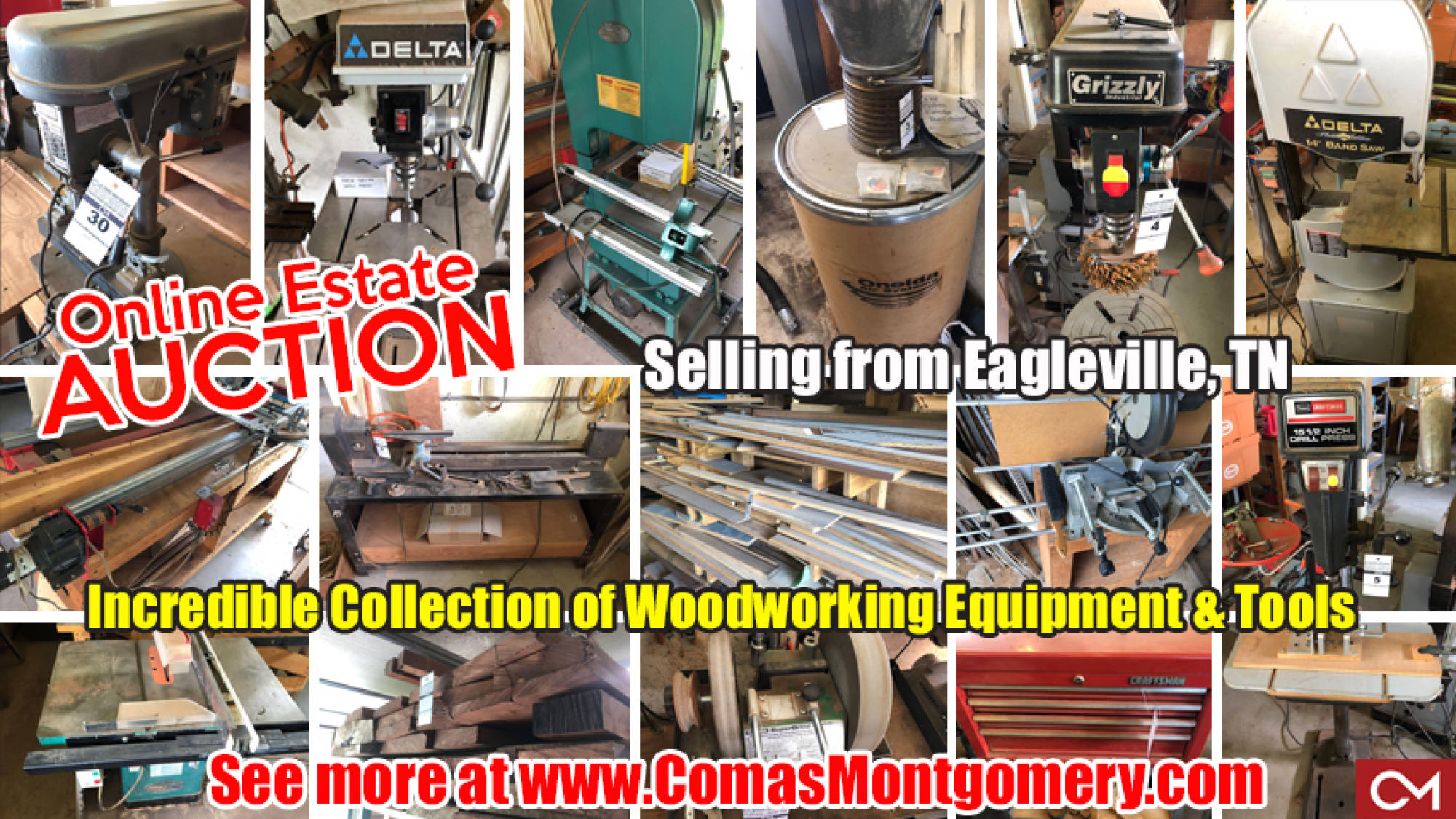 Woodworking, Tools, Equipment, For Sale, Lathes, Grinders, Hand Tools, Auction, Estate, Sale, Comas, Montgomery, Eagleville, Tennessee, Lynch, Legacy, Grizzly, Oneida, Delta, Rockwell, Dayton, Wilton, Tormek, Wood, Lumber, Craftsman, Craft, Hardware