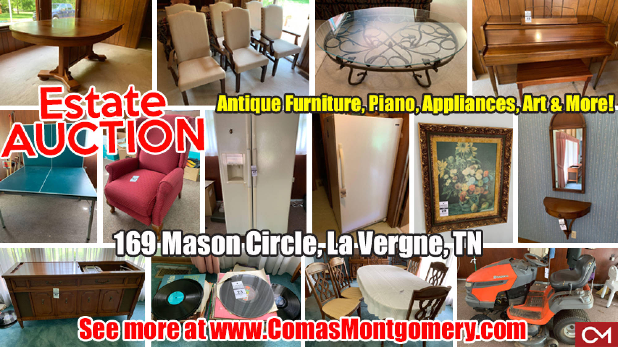 Estate, Sale, Auction, La Vergne, Antiques, Furniture, Appliances, Piano, Records, Stereo, Lamps, Art, For Sale, Comas, Montgomery, Tennessee