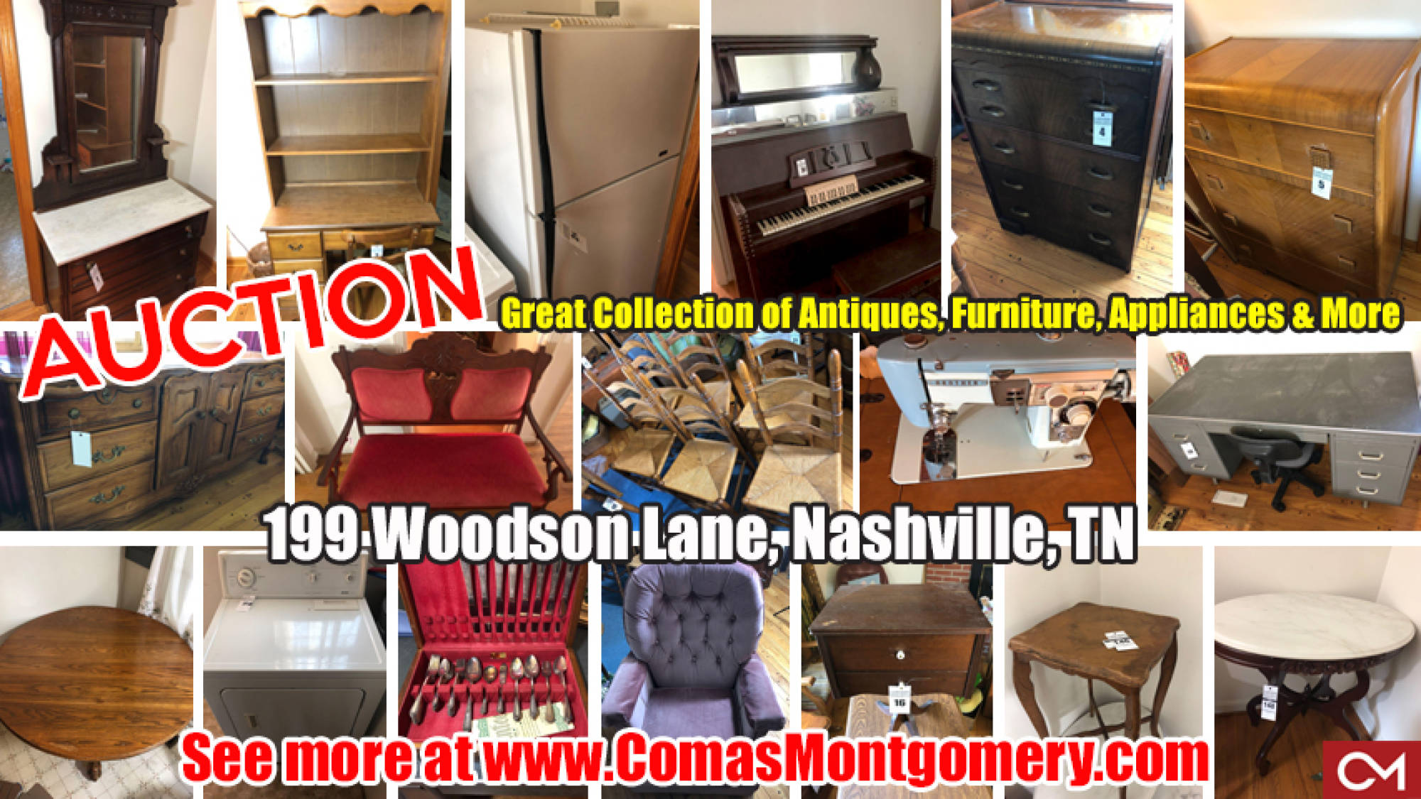 Estate, Sale, Auction, Furniture, Antiques, Appliances, For Sale, Sewing, Piano, Silverware, Comas, Montgomery, Table, Chairs, Tennessee, Nashville