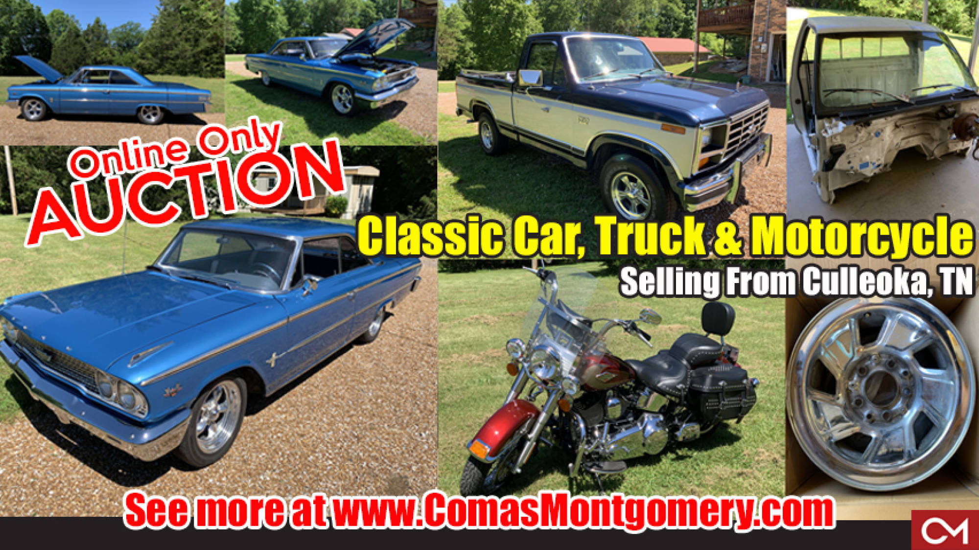 online, auction, classic, car, automobile, for sale, harley, davidson, ford, galaxie, truck, collectible, motorcycle, culleoka, tennessee, comas, montgomery