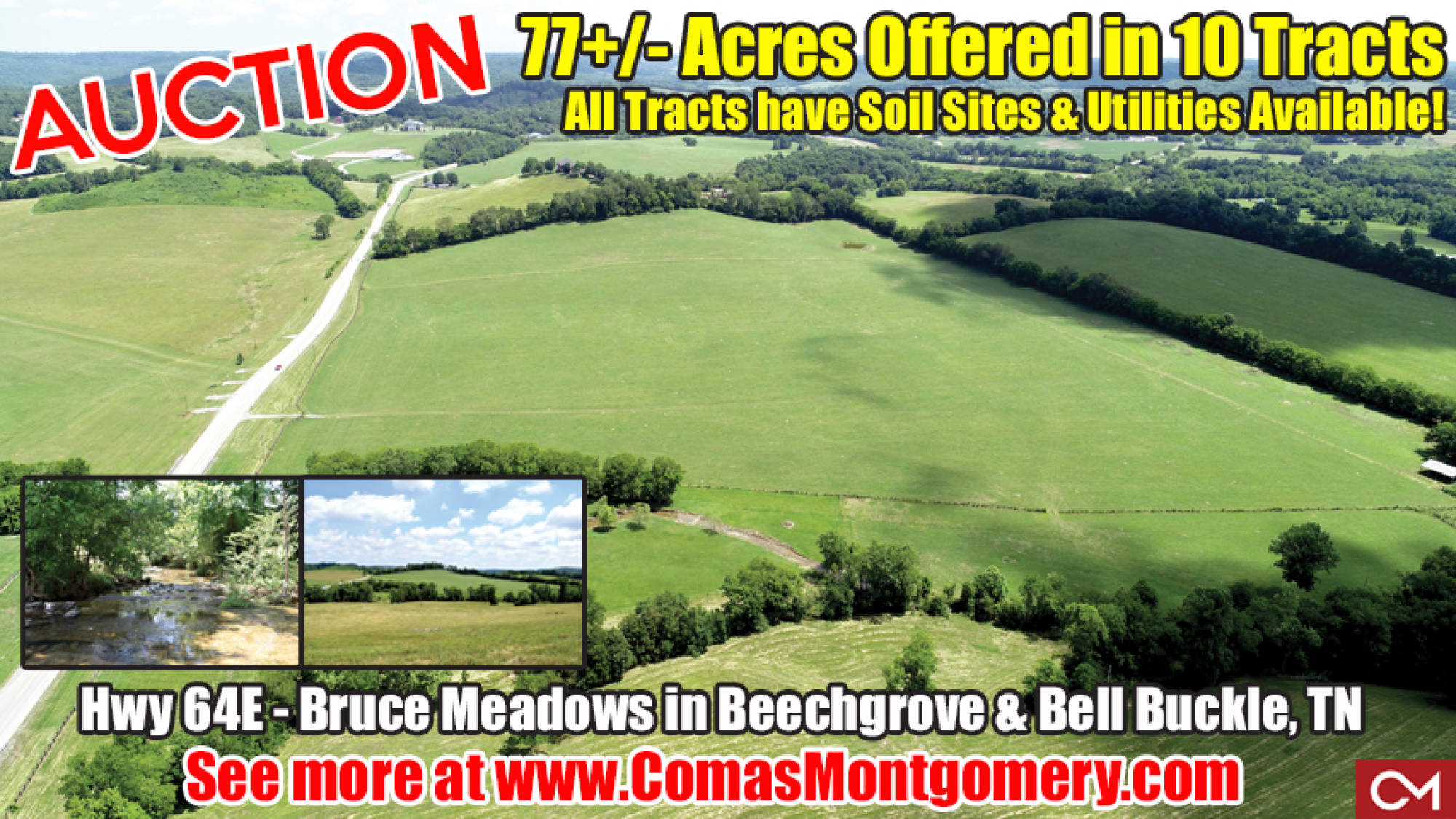 Land, Tracts, Acres, Beechgrove, Bell Buckle, Webb School, Real Estate, For Sale, Auction, Tennessee, Comas, Montgomery, Creek, Pond, Barn, Pasture