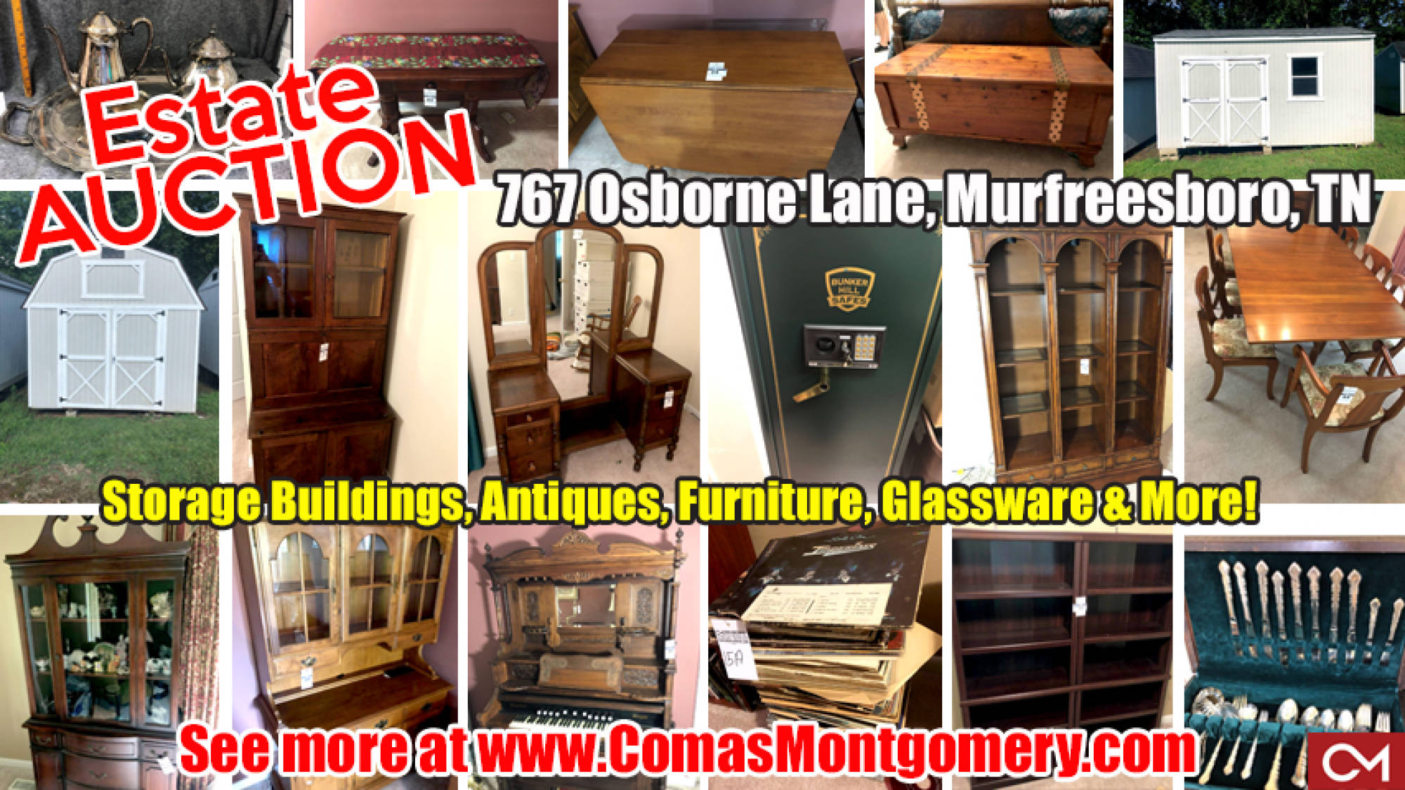Furniture, Antiques, Storage Building, Glassware, Estate, Auction, For Sale, Murfreesboro, Tennessee, Comas, Montgomery, Silverware, Records, Tools, China Cabinet, Bedroom Suite, Appliances